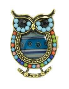 Blue Beads Adjustable Owl Rings
