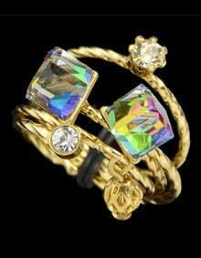 Colorful Crystal Rings Set