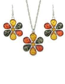 Beautiful Rhinestone Flower Jewelry Set