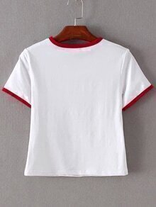 Red Trim & Pocket White Crop T-shirt EmmaCloth-Women Fast Fashion ...