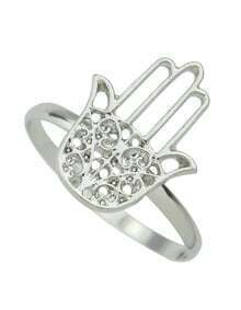 Silver Plated Hand Shape Rings