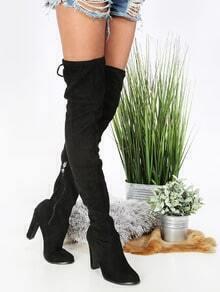 Thigh High Chunky Heel Boots BLACK