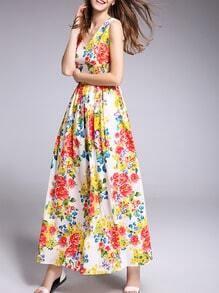 White V Neck Floral Maxi Dress