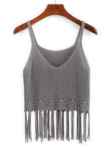 Grey Scoop Neck Tassel Tank Top