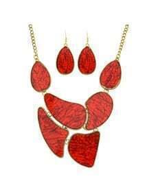 Red Stone Statement Jewelry Set