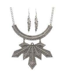 Silver Plated Rhinestone Leaf Jewelry Set