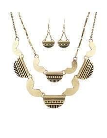 Gold Geometric Multilayers Jewelry Set