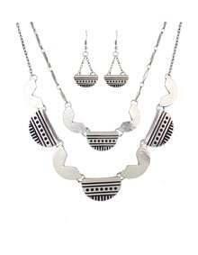 Silver Geometric Multilayers Jewelry Set