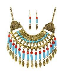 Gold Plated Hanging Beads Jewelry Set