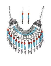 Silver Plated Hanging Beads Jewelry Set