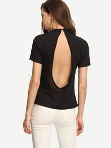Black Open Back Mock Neck Top