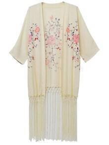 Beige Fringe Hem Embroidery Cardigan Kimono
