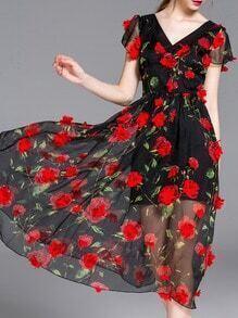 Black V Neck Flowers Applique Dress