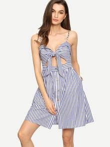 Blue Striped Sleeveless Bow Hollow Bottons Dress