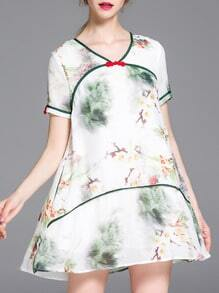 White V Neck Ink Print Dress