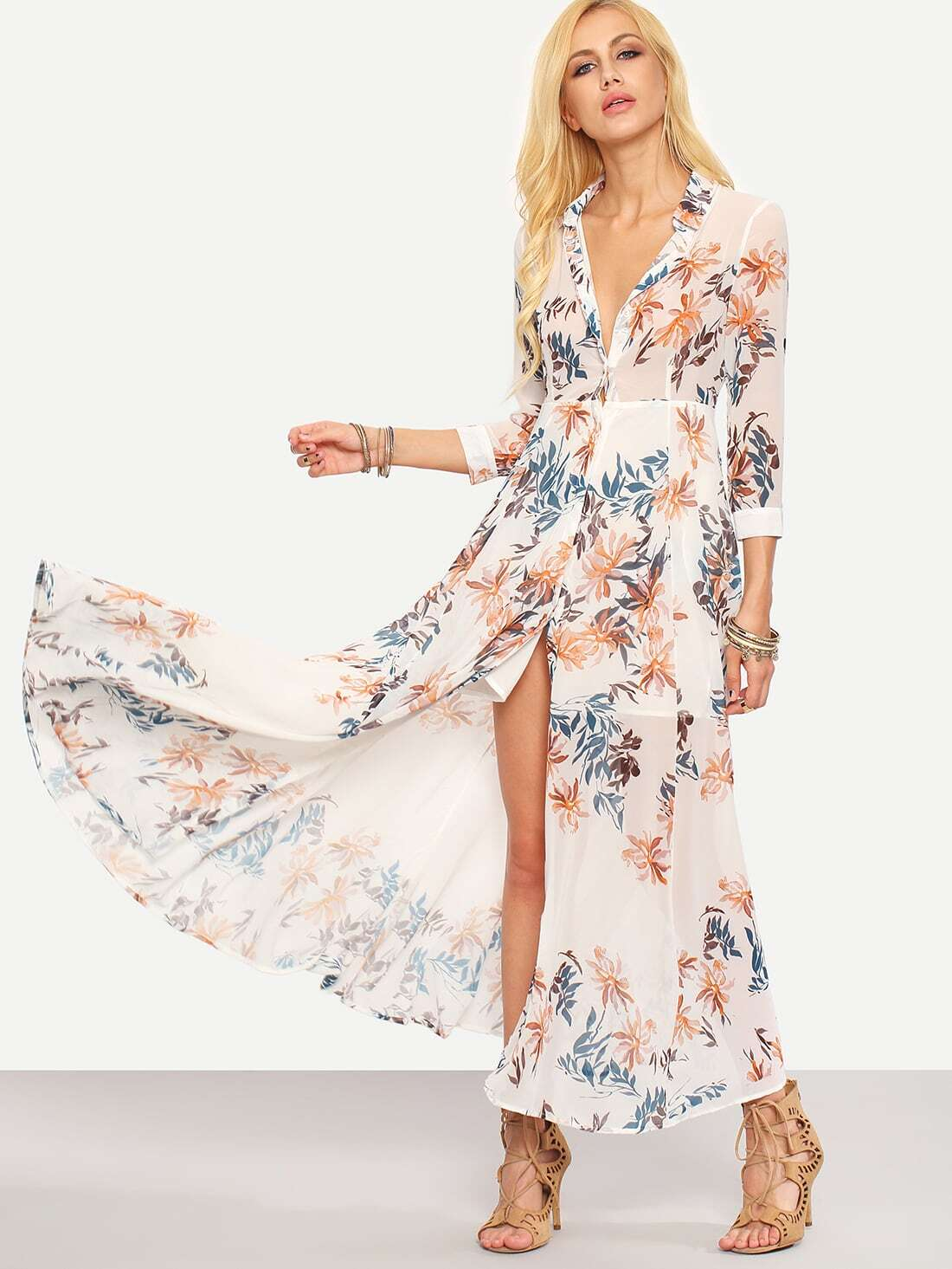 Flower print chiffon long shirt dress white emmacloth women fast flower print chiffon long shirt dress white pictures mightylinksfo