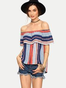 Multicolor Striped Off The Sholder Ruffle Blouse