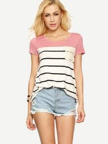 Multicolor Short Sleeve Stripe Pocket T-shirt