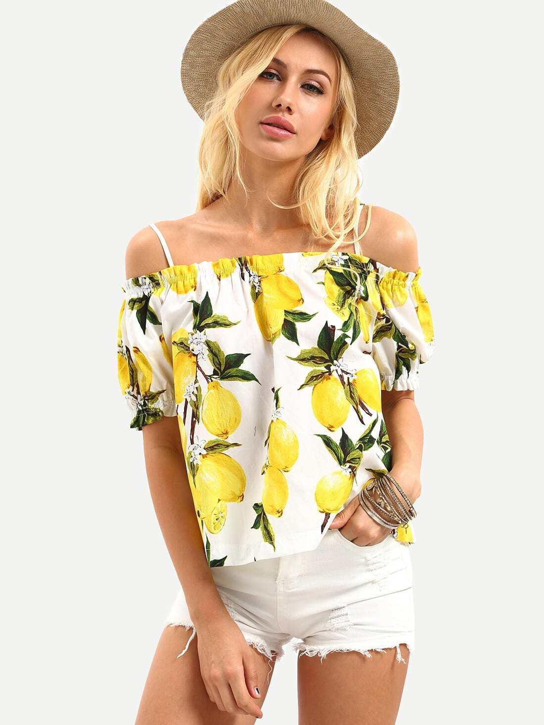 Cold Shoulder Lemon Print Top - Yellow EmmaCloth-Women
