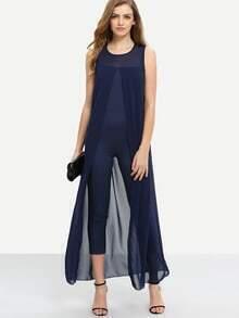 3f73faa7c2f Chiffon Overlay Skinny Jumpsuit - Navy EmmaCloth-Women Fast Fashion Online