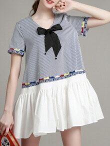 White V Neck Bowknot Striped Dress