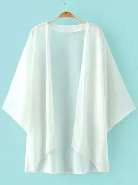 White Elbow Sleeve Chiffon Cardigan Kimono EmmaCloth-Women Fast ...