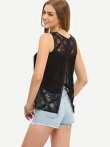 Black Sleeveless Lace Splice Split Tank Top