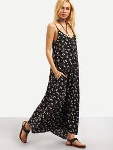 Black Braces Deep V Neck Floral Houndstooth Print Cami Slip Dress