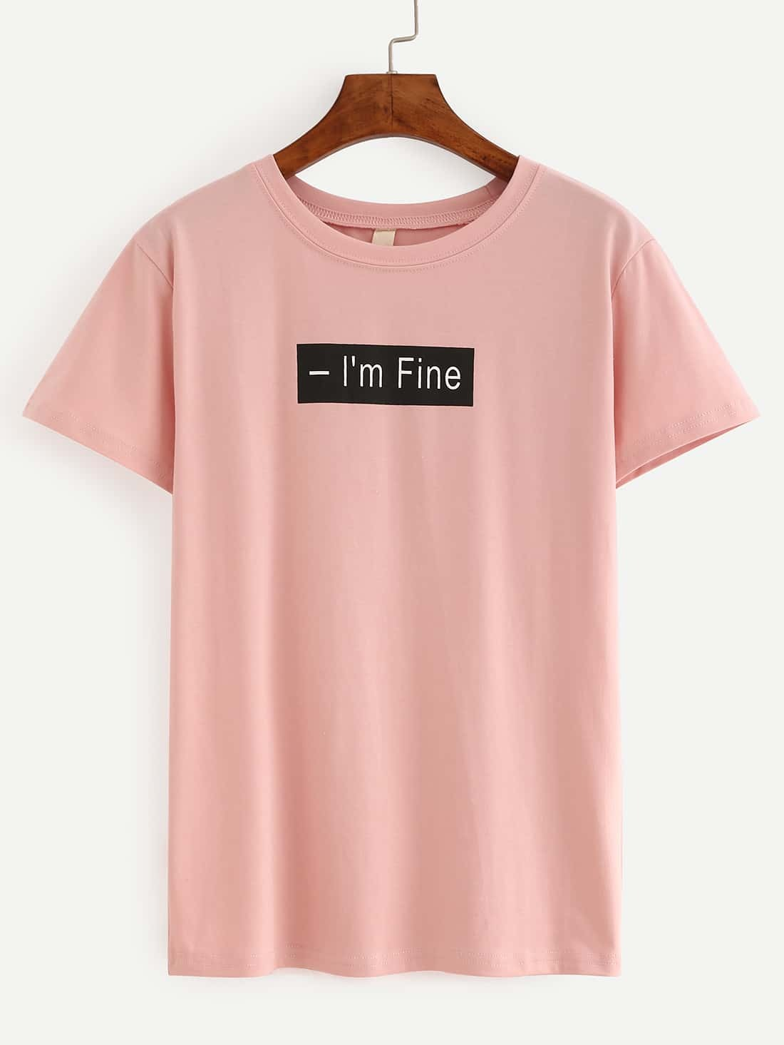 Letter Print Pink T-Shirt EmmaCloth-Women Fast Fashion Online