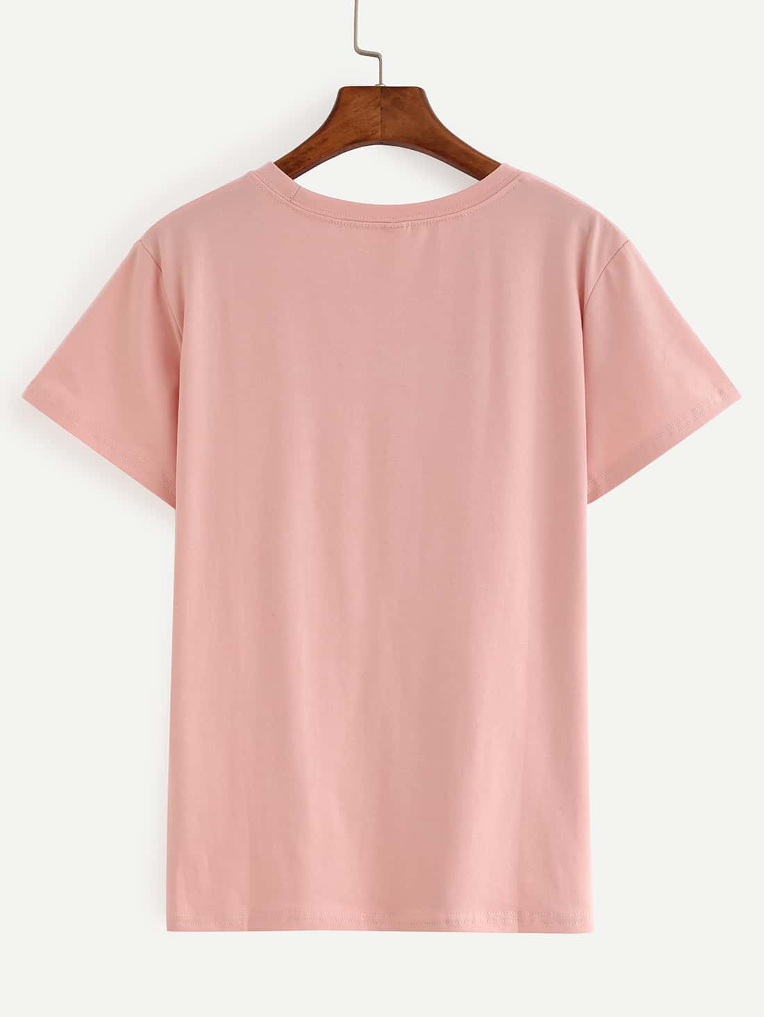 Letter print pink t shirt emmacloth women fast fashion online for Letter print t shirt