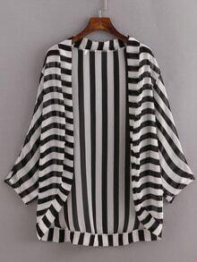 Black White Striped Open-Front Kimono