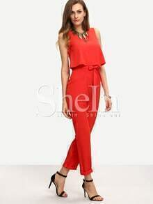 Red Sleeveless Bow Tie Waist Jumpsuit