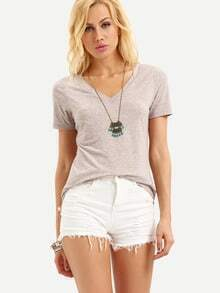 Pink V Neck Short Sleeve T-shirt