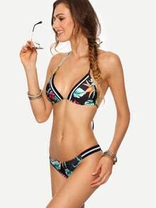 Striped-Trim Tropical Print Triangle Bikini Set - Black