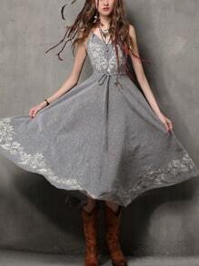 Flower Embroidered Drawstring Waist Cami Dress - Grey