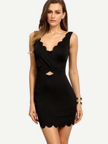 Black Sleeveless Hollow Backless Bodycon Dress
