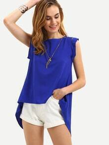 Blue Cap Sleeve Split Back Blouse