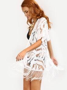 Fringe Hollow Out Cover-Up Lace Cardigan - White