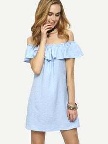 Flounce Off-The-Shoulder Dress - Blue