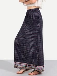 Multicolor Vintage Print Pockets Boho Maxi Skirt
