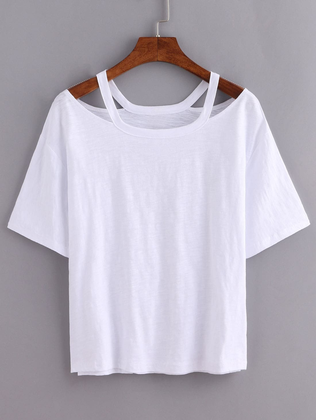 Cutout loose fit white t shirt emmacloth women fast for Who makes the best white t shirts