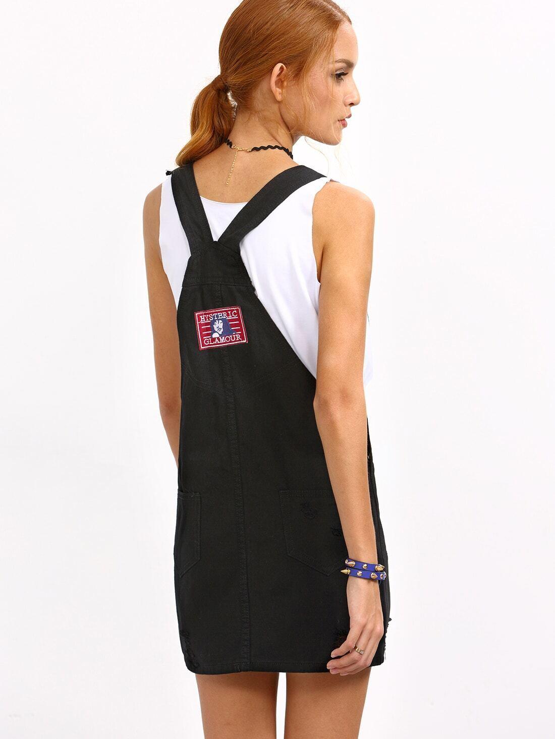 - Ripped Black Denim Overall Dress EmmaCloth-Women Fast Fashion Online