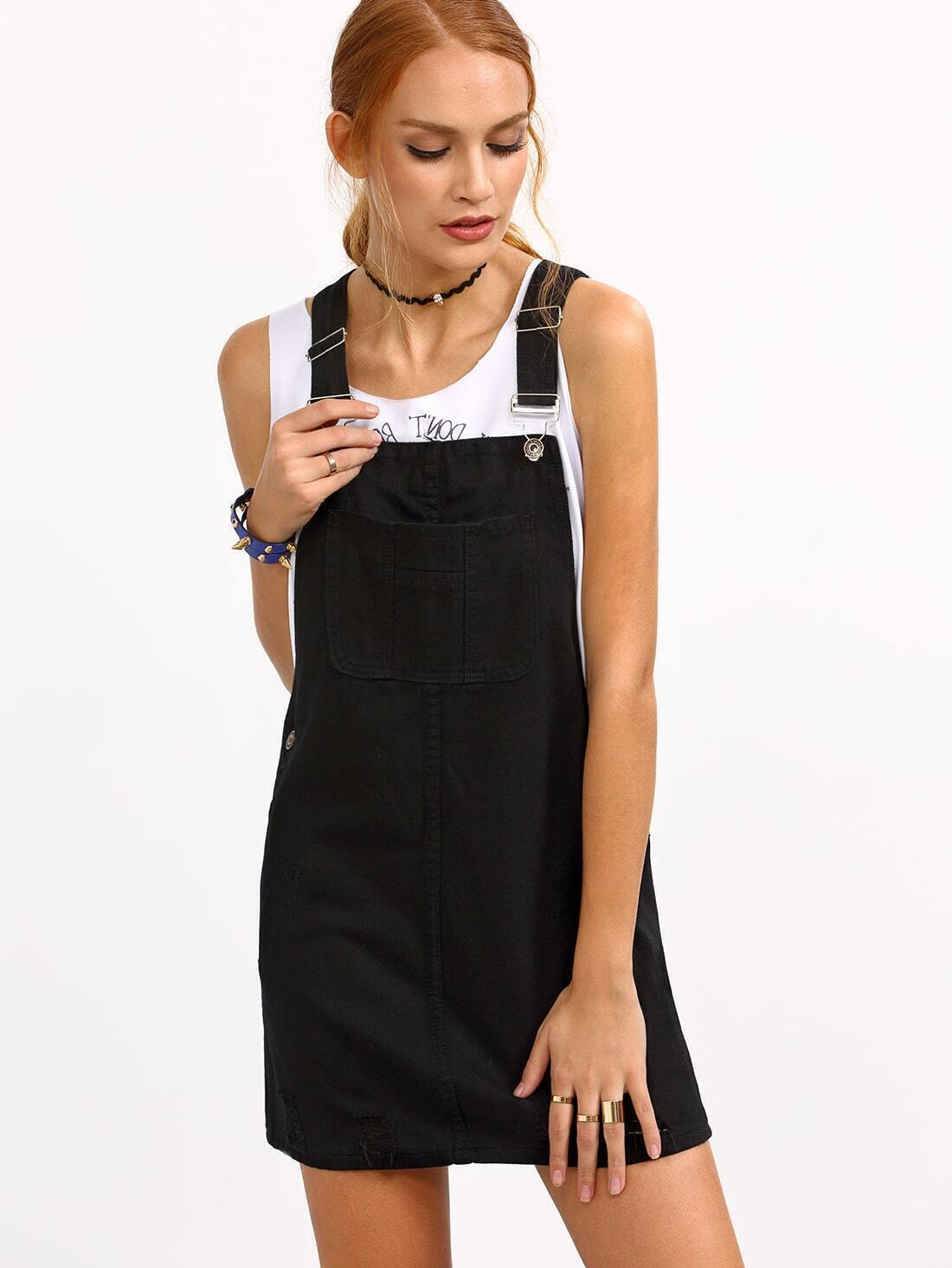 Ripped Black Denim Overall Dress. Pin It - Ripped Black Denim Overall Dress EmmaCloth-Women Fast Fashion Online