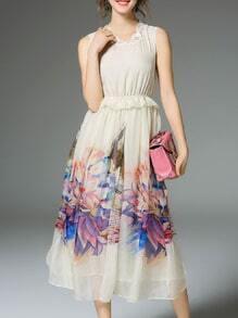 Cream Contrast Lace Peplum Print Dress