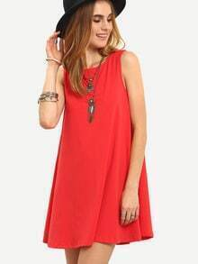 Red Sleeveless Tie Back Shift Dress