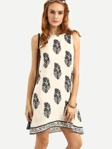 Multicolor Sleeveless Print Shift Dress