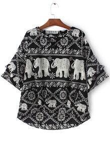 Black White Bell Sleeve Elephants Print Blouse