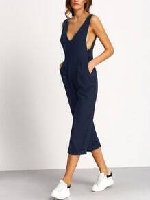 Navy Deep V Neck Jumpsuit