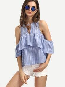 Blue Striped Cold Shoulder Ruffle Blouse