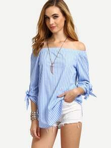 Blue Striped Off The Shoulder Tie Cuff Blouse